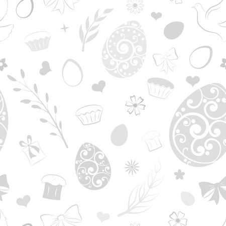 Seamless pattern of eggs, flowers, cake, gift box and other Easter symbols, gray on white