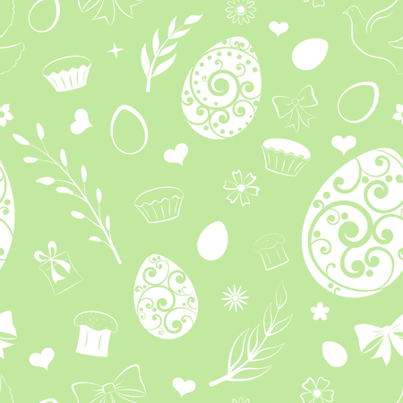 Seamless pattern of eggs, flowers, cake, gift box and other Easter symbols, white on light green Ilustração