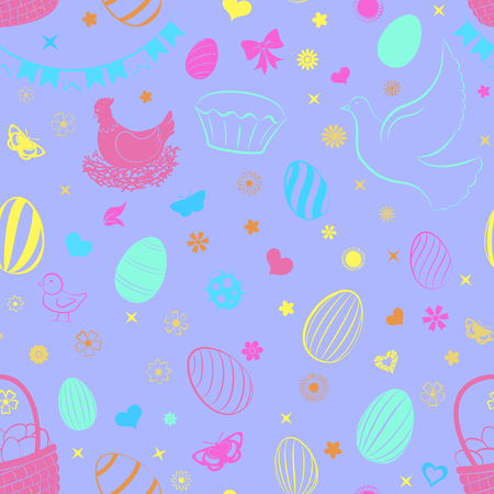 Seamless pattern of eggs, flowers, cakes, hare, hen, chicken and other Easter symbols, multicolored on violet