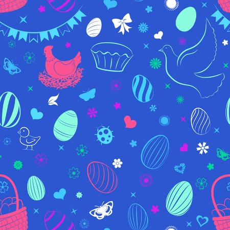 Seamless pattern of eggs, flowers, cakes, hare, hen, chicken and other Easter symbols, multicolored on blue