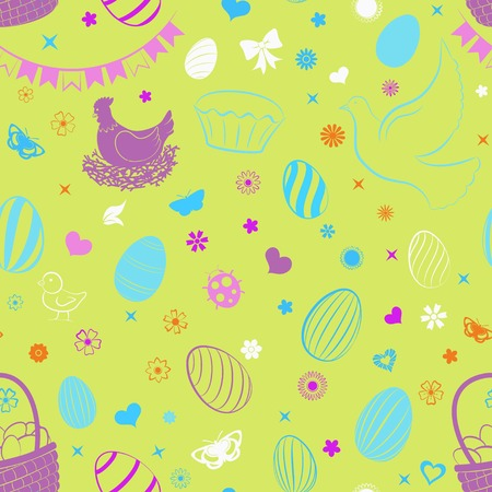 Seamless pattern of eggs, flowers, cakes, hare, hen, chicken and other Easter symbols, multicolored on yellow