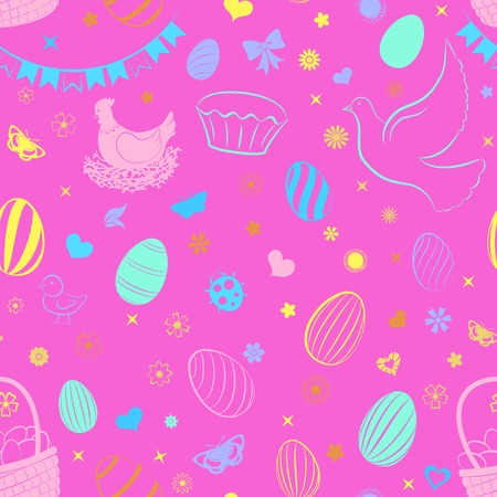 Seamless pattern of eggs, flowers, cakes, hare, hen, chicken and other Easter symbols, multicolored on pink