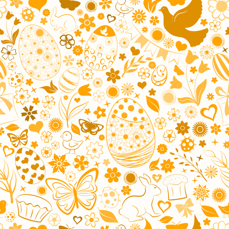 Seamless pattern of eggs, flowers, cakes, hare, hen, chicken and other Easter symbols, brown on white