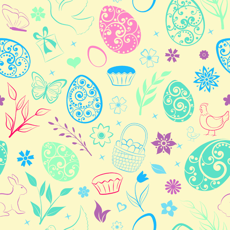 Seamless pattern of eggs, flowers, cakes, hen, chicken and other Easter symbols, multicolored on beige Ilustração