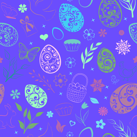 Seamless pattern of eggs, flowers, cakes, hen, chicken and other Easter symbols, multicolored on blue Ilustração