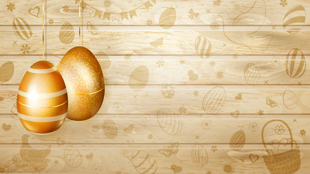 Several golden Easter eggs hanging on background of wooden planks with holyday symbols like flowers, cakes, hare, hen, chicken, bow and other