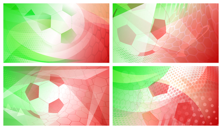 Set of four football or soccer abstract backgrounds with big ball in national colors of Italy or Mexico
