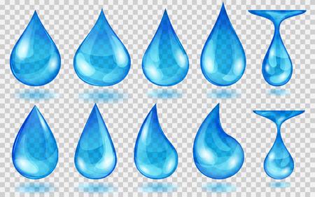Satz durchscheinende Wassertropfen in blauen Farben in verschiedenen Formen, einzeln auf transparentem Hintergrund.