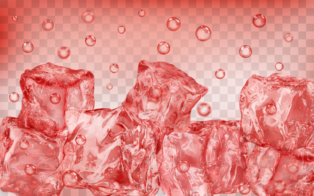 A lot of translucent red ice cubes and air bubbles under water on transparent background. Transparency only in vector format Иллюстрация