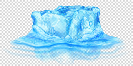 One big realistic translucent ice cube in light blue color half submerged in water. Isolated on transparent background. Transparency only in vector format