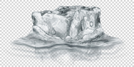 One big realistic translucent ice cube in gray color half submerged in water. Isolated on transparent background. Transparency only in vector format