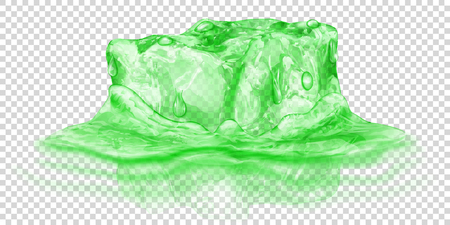 One big realistic translucent ice cube in green color half submerged in water. Isolated on transparent background. Transparency only in vector format