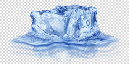 One big realistic translucent ice cube in blue color half submerged in water. Isolated on transparent background. Transparency only in vector format