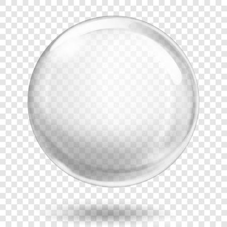 Grote doorschijnende witte bol met blikken en schaduw op transparante achtergrond. Transparantie alleen in vectorformaat
