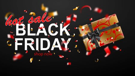 Black Friday sale banner. Gift box with bow and ribbons. Flying shiny blurry red and yellow confetti and pieces of serpentine on dark background. Vector illustration for posters, flyers or cards. Ilustração
