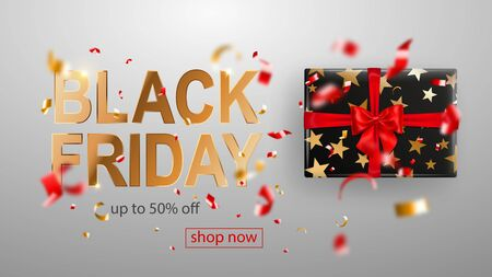 Black Friday sale banner. Gift box with bow and ribbons. Flying shiny blurry red and yellow confetti and pieces of serpentine on white background. Vector illustration for posters, flyers or cards. Ilustração