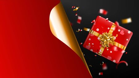 Black Friday sale banner. Golden curled paper corner and place for inscription. Gift box, blurry red and yellow pieces of serpentine on dark background. Vector illustration for posters, flyers, cards Ilustração