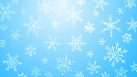 Christmas  with various complex big and small snowflakes in light blue colors