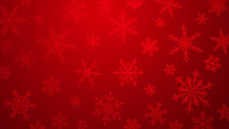 Christmas  with various complex big and small snowflakes in red colors