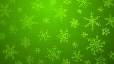 Christmas  with various complex big and small snowflakes in green colors
