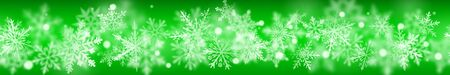 Christmas banner of complex blurred and clear snowflakes in white colors on green Ilustração