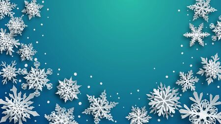 Christmas illustration of white complex paper snowflakes with soft shadows on turquoise background