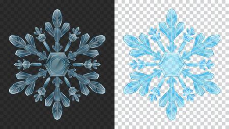 Two big complex transparent Christmas snowflakes in light blue colors for use on dark and light background. Transparency only in vector format Vecteurs