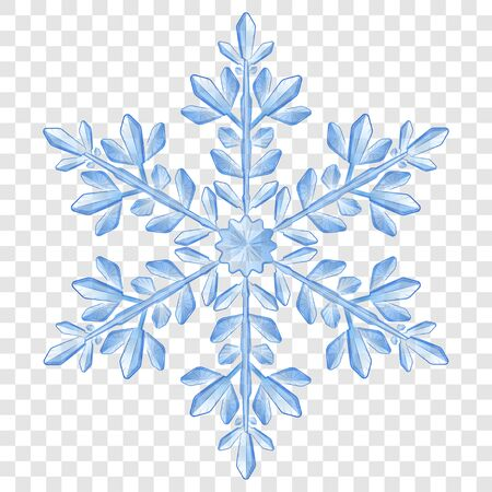 Big complex translucent Christmas snowflake in blue colors for use on light background. Transparency only in vector format