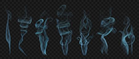 Set of realistic transparent smoke or steam in light blue colors, for use on dark
