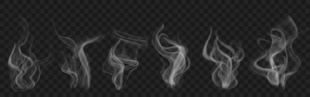 Set of realistic transparent smoke or steam in white and gray colors, for use on dark Ilustração