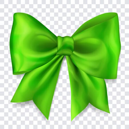 Beautiful big bow made of green ribbon with shadow on transparent background Çizim
