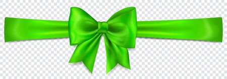 Beautiful green bow with horizontal ribbon with shadow on transparent background Çizim