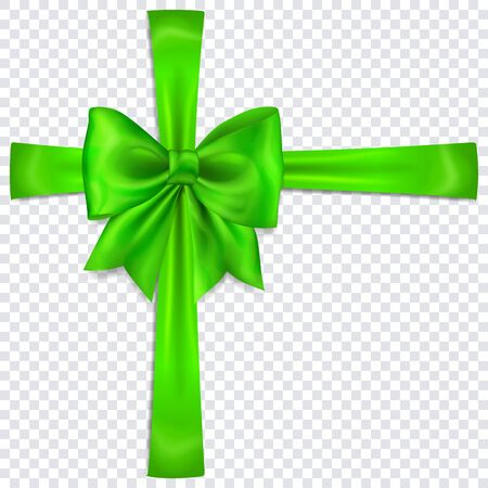 Beautiful green bow with crosswise ribbons with shadow on transparent background Çizim