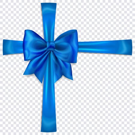 Beautiful blue bow with crosswise ribbons with shadow on transparent background