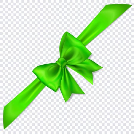 Beautiful green bow with diagonally ribbon with shadow on transparent background