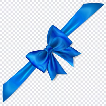 Beautiful blue bow with diagonally ribbon with shadow on transparent background Çizim