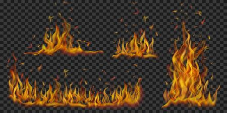 Set of translucent burning campfires of flames and sparks on transparent background. For used on dark background.