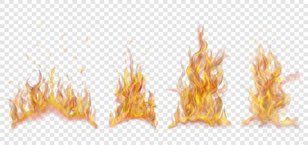Set of translucent burning campfires of flames and sparks on transparent background. For used on light background.
