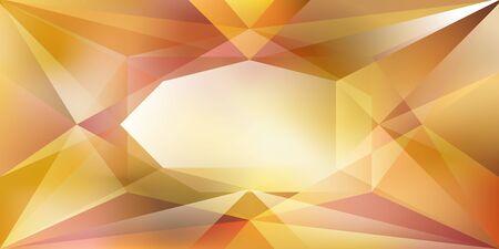 Sfondo di cristallo astratto con luce rifrangente e punti salienti in colori gialli
