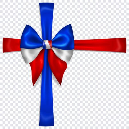 Beautiful bow in colors of France flag with crosswise ribbons with shadow on transparent background. Transparency only in vector format Çizim