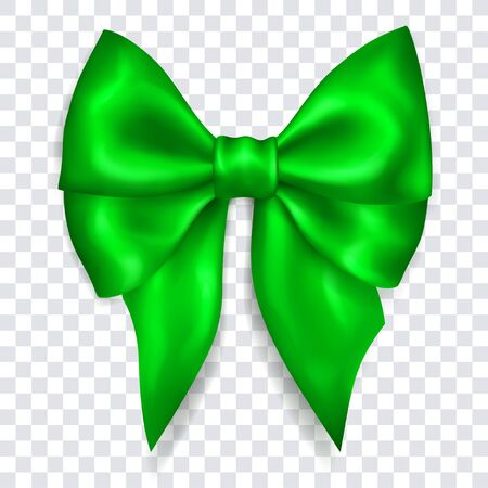 Beautiful big bow made of green ribbon with shadow on transparent background. Transparency only in vector format Çizim
