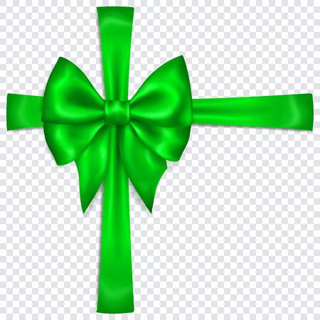 Beautiful green bow with crosswise ribbons with shadow on transparent background. Transparency only in vector format