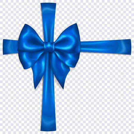 Beautiful blue bow with crosswise ribbons with shadow on transparent background. Transparency only in vector format Banque d'images - 135502908