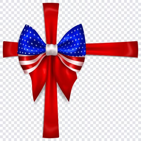 Beautiful bow in colors of USA flag with crosswise ribbons with shadow on transparent background. Transparency only in vector format