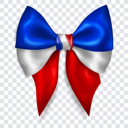 Beautiful big bow in colors of France flag made of shiny ribbon with shadow on transparent background. Transparency only in vector format Banque d'images - 135502910