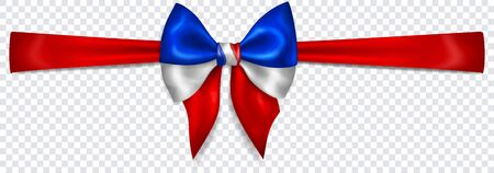 Beautiful bow in colors of France flag with horizontal ribbon with shadow on transparent background. Transparency only in vector format Banque d'images - 135502911