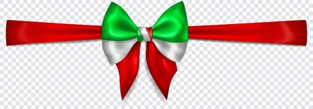 Beautiful bow in colors of Italy flag with horizontal ribbon with shadow on transparent background. Transparency only in vector format Banque d'images - 135502912