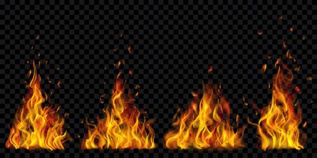Set of translucent burning campfires of flames and sparks on transparent background. For used on dark illustrations. Transparency only in vector format