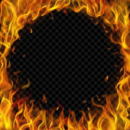 Translucent round frame made of fire flames and sparks on transparent background. For used on dark illustrations. Transparency only in vector format