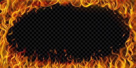 Translucent elliptical frame made of fire flames and sparks on transparent background. For used on dark illustrations. Transparency only in vector format Illusztráció
